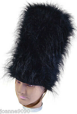 Queens Black Royal Guard Soldier Tall Bearskin Beefeater Fancy Dress Costume Hat