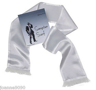 New Budger White Scarf with Tassles Gangster Moll Fancy Dress Costume Accessory