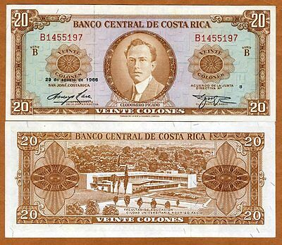 Costa Rica, 20 Colones, 29-8-1966, P-231, aUNC > Scarce