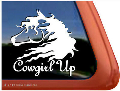 Cowgirl Up! ~ High Quality Vinyl Horse Trailer Window Decal Sticker