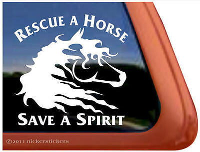 Rescue a Horse Save a Spirit ~ Vinyl Horse Trailer Window Decal Sticker