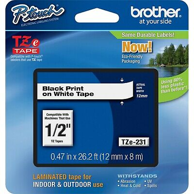 "4 Pack Brother TZE231 TZ-231 1/2"" Black on White P-Touch Label Tape"