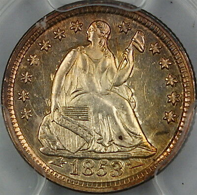 1853 Seated Liberty Silver Half Dime, PCGS MS-62 Arrows, Toned, Very Choice, GKG
