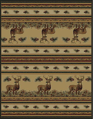 "DEER hunting RUSTIC lodge 2x8 area rug PINE buck RUNNER: Actual Size 1'11""x7'4"""