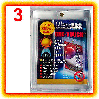 3 Ultra Pro ONE TOUCH MAGNETIC 360pt UV Card Holder Display Case Two Piece 82719