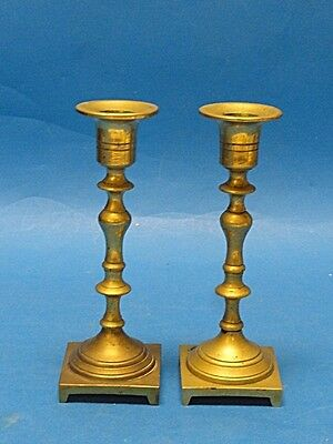 Pair of Colonial Revival Solid Brass Candlesticks Candle Holder