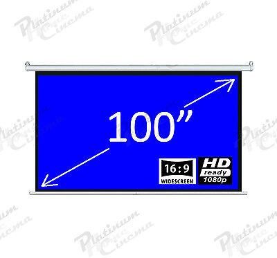 "New 100"" Electric HD Projection Screen projector home cinema 16:9 Matt White"