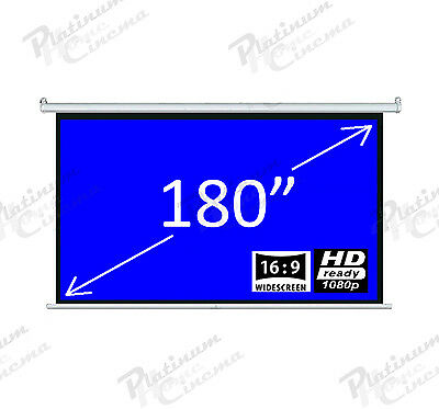 "New 180"" Electric HD Projection Screen projector home cinema 16:9 Matt White"