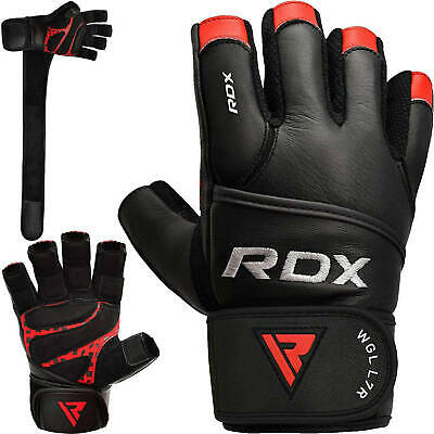 RDX Leather Weight Lifting Body Building Gym Gloves Fitness Training Straps