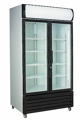 Chillmatic 2 Door 1000L Commercial Upright Glass Display Drinks Storage Fridge