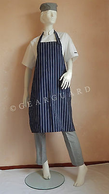 Adjustable Full Bib Pinstripe Chef/Butcher Apron, no pocket, buy more save more