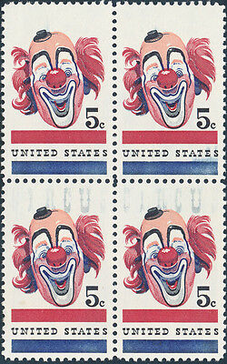 #1309 Var. 5¢ Circus Block Top 2 Stamps Blue Omitted -- Unique W/ Aps Cert Wl876