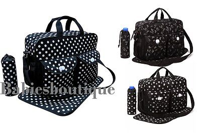 Black Multi Function 3PCs Baby Nappy Diaper Changing Bags Set Mat 3 Designs NEW