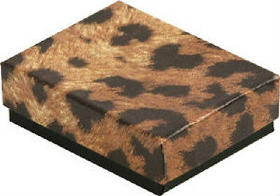 Wholesale 100 Small Leopard Cotton Fill Jewelry Gift Boxes 17/8