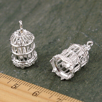 Sterling Silver Plated Brass Bird Cage Pendant Charm be45s(1pc)