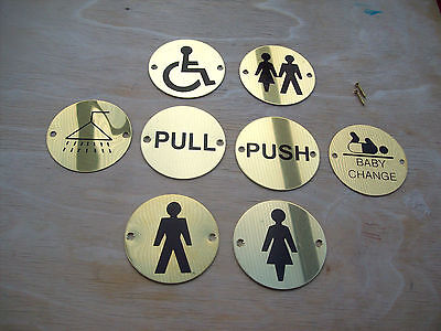Circular Round Brass Toilets Pub Shop Business Bathroom Door Signs Notice Plate