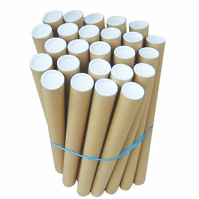"1550mm x 76.4mm (61"" x 3"") Postal Tubes Packing Tubes + End Caps Cardboard Tube"