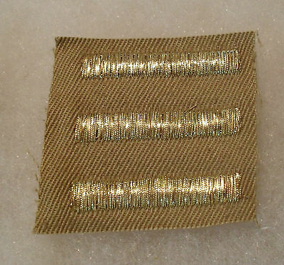 "Wwii ""3"" Officer Overseas Bars Tinsel Gold Bullion Wire On Tan Twill"