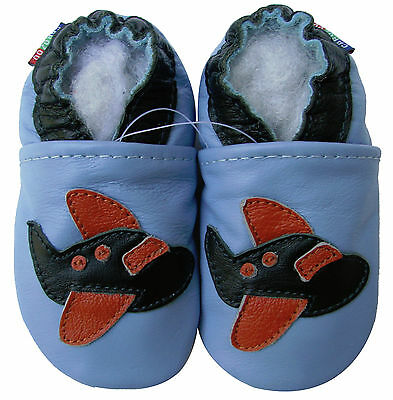 carozoo airplane light blue 12-18m soft sole leather baby shoes