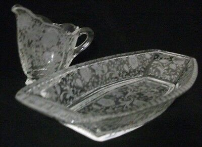 Cambridge WILDFLOWER Creamer & Relish Dish Gorgeous Etched Design-A+ CONDITION
