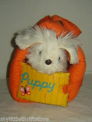 HTF!! Vintage 1977 Fisher Price Plush Puppy w/ Orange and Yellow Plush Dog House
