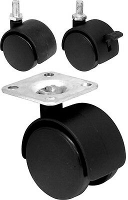 4 X Twin Wheel Swivel Casters Cabinet Chair Table Castor Furniture 41Mm