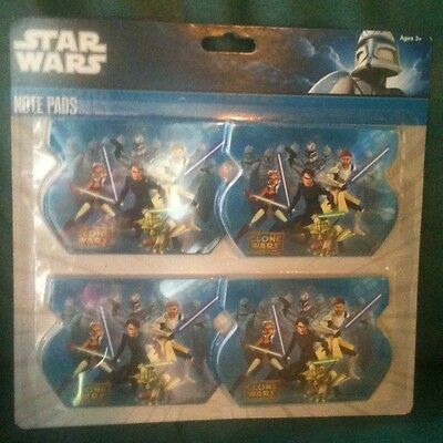 Star Wars Clone Wars Note Pads: School Supplies Party Favors 4 Pax@ 60 Sheets Ea