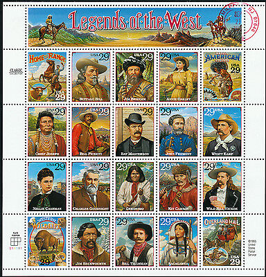 """#2870 """"legends Of The West"""" Pane/20 Recalled W/ Pfc -- Pre First Day -- Hv3093"""