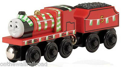 NEW Thomas Tank Engine Adventures of Wooden JAMES with TEAM COLORS