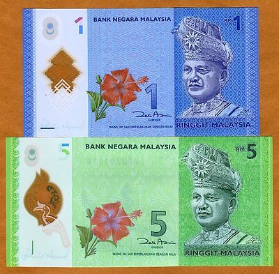 Set, Malaysia, 1 and 5 Ringgit, ND (2012), P-New, UNC   Polymer