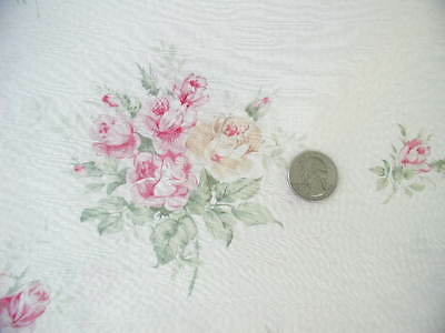 Yuwa Gorgeous Soft Cotton  Plisse´ Pink Cottage Rose Bouquets on Cream Fabric Yd