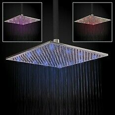 Square 300mm Fixed Brass Chrome Shower Head with Coloured LED Lights