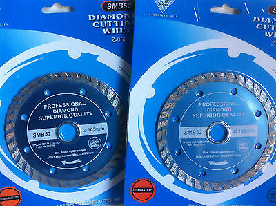 "4"" (105mm) Turbo Diamond Cutting Disc X 2 . Turbo Saw Blade. Diamond Blade X2"
