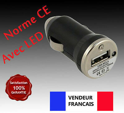 Chargeur noir AUTO  VOITURE  allume cigare USB  IPHONE 5g 5s  GALAXY  Prise USB