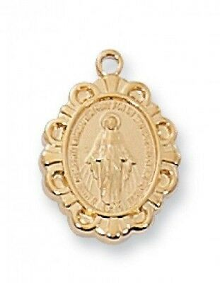 "IVL 1/2"" Womens Childrens Gold .925 Silver Baroque Style Miraculous Mary Medal"