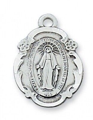 "IVL 3/4"" Womens Sterling Silver Antique Style Miraculous Virgin Mary Medal"