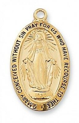 "IVL 1"" Womens Gold .925 Silver Oval Immaculate Conception Miraculous Mary Medal"