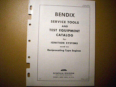 Bendix Scintilla Service Tools & Test Equipment Catalog for Ignitions Systems