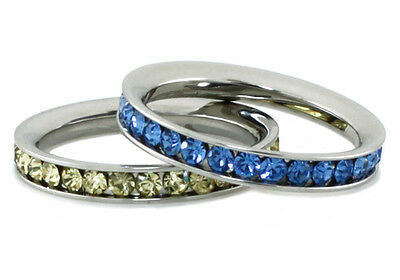 Women's Stainless Steel Eternity Color Crystal Stackable Fashion Ring