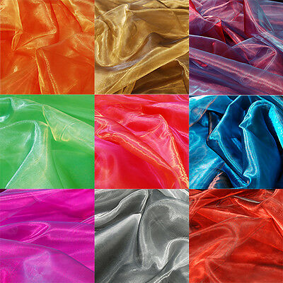Two Tone Satin Organza Fabric Sheer Voile Curtain Wedding Per Metre 150cm Wide