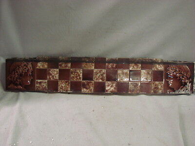 HUGE ANTIQUE LATE 1800'S GLAZED TILE SECTION WITH BOY AND GIRL ON EACH SIDE