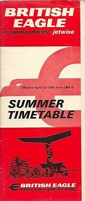 British Eagle Timetable Summer 1966 No 1 International Airlines