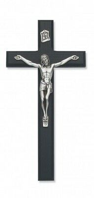 "IVL 10"" Beveled Black Fine Wood Hanging Wall Crucifix Silver Plate Christ Corpus"