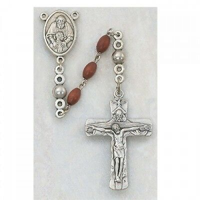 Needzo IVL Mens Silver Plate 6MM Wood Bead Holy Trinity Father Son Spirit Rosary