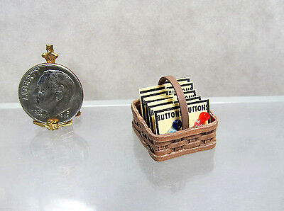 Dollhouse Miniature Handcrafted Basket of Button Cards