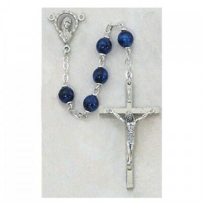 IVL 7MM Dark Blue European Glass Bead Classic Style Silver Oxidized Rosary