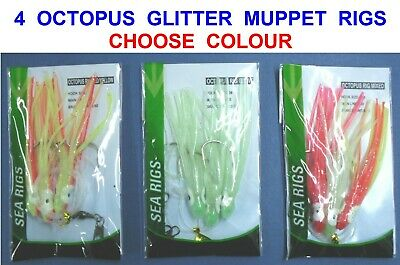 5 RED 10//0 ABALONE OCTOPUS GLITTER MUPPETS RIG Cod Fishing Lures Sea Boat Tackle