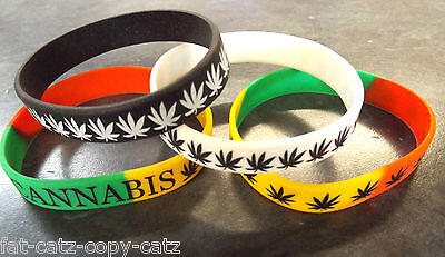 Marijuana Weed Ganja Leaf Rasta Hippy Sign Unisex Rubber Wrist Bracelet Band Uk
