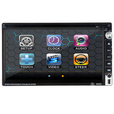"""6.95"""" 2Din Touch In-Dash Car DVD Player Bluetooth TV iPod Radio Stereo SWC Aux"""