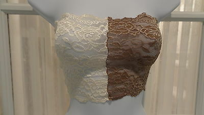 """Strapless Combo Ivory/Taupe Stretch Lace 8"""" Bandeau Camisole - Ally Rose Toppers"""